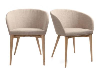 Lot de 2 fauteuils design beige DALIA