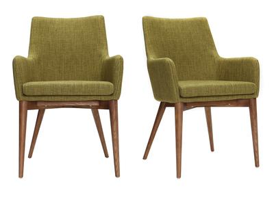 Lot de 2 fauteuils design bois et tissu vert SHANA