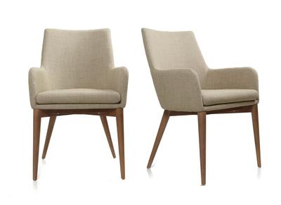 Lot de 2 fauteuils design polyester beige SHANA