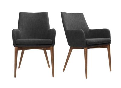Lot de 2 fauteuils design polyester gris anthracite SHANA