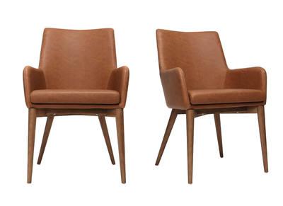 Lot de 2 fauteuils vintage PU marron et bois  SHANA