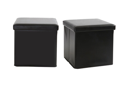 Lot de 2 poufs de rangement design noir MILO
