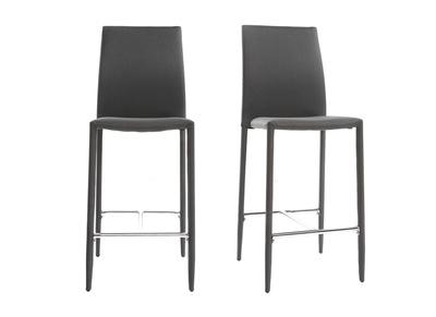 Lot de 2 tabourets / chaises de bar design gris anthracite TALOS