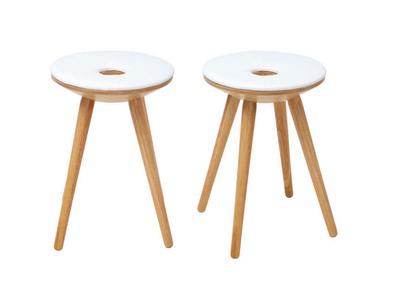 Lot de 2 tabourets d'appoint design bois naturel et blanc NORDECO