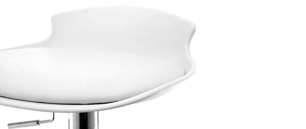 Lot de 2 tabourets de bar design blanc NOVA