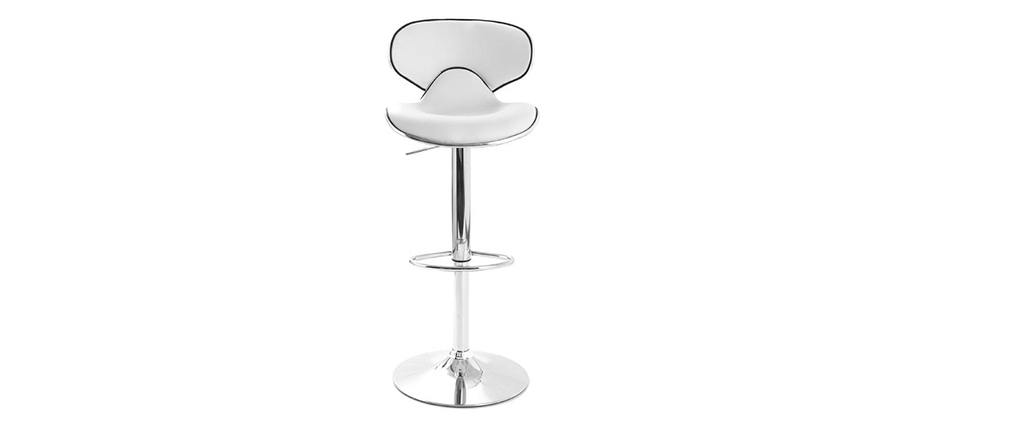 Lot de 2 tabourets de bar design blanc PEGASE