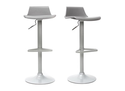 Lot de 2 tabourets de bar design gris KRONOS