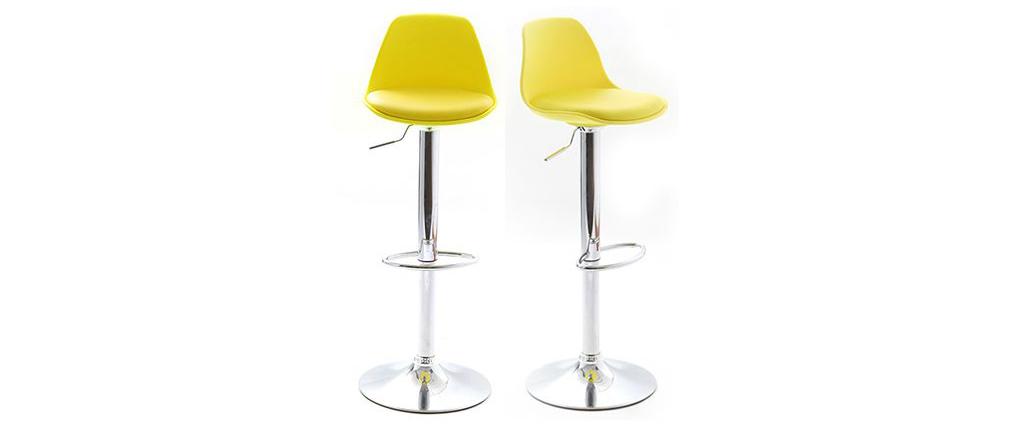 Lot de 2 tabourets de bar design jaunes STEEVY