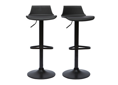 Lot de 2 tabourets de bar design noir KRONOS