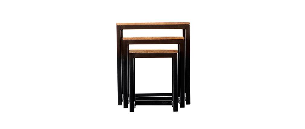 Lot de 3 tables gigognes industrielles métal et bois FACTORY