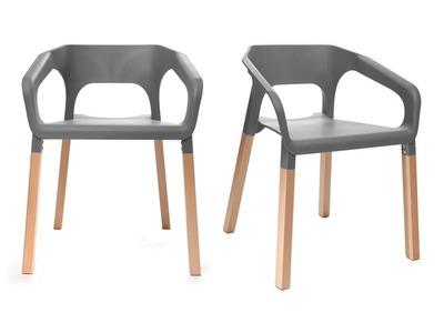 Lot de deux chaises design scandinave grises HELIA
