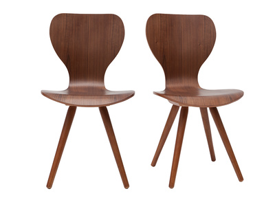 Lot de deux chaises style scandinave en noyer naturel NORDECO