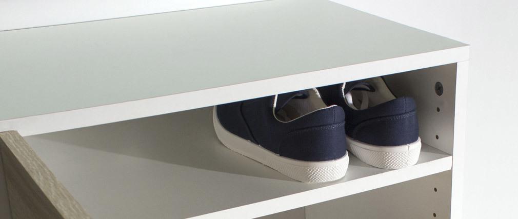 Meuble à chaussures design blanc et bois 3 portes BOBBY