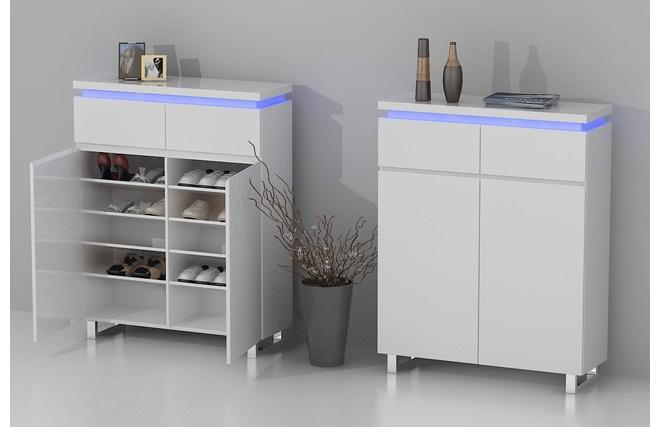 meuble d 39 appoint d 39 entr e design laqu blanc et led voka miliboo. Black Bedroom Furniture Sets. Home Design Ideas