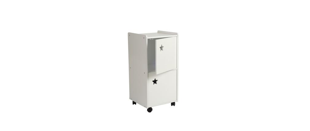 Meuble de rangement enfant 2 portes blanc etoile miliboo for Meuble de rangement enfants