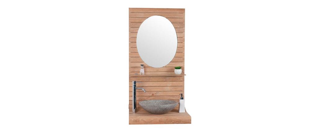 meuble de salle de bain suspendu en teck azato miliboo. Black Bedroom Furniture Sets. Home Design Ideas