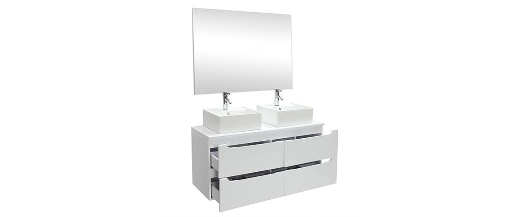 Meuble de salle de bains avec double vasque, miroir et rangements blanc LOTA