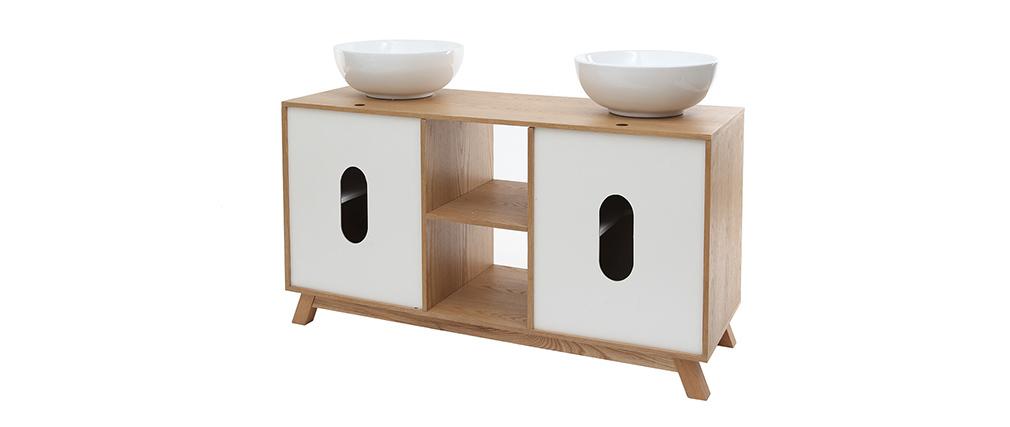 Meuble de salle de bains avec double vasque, rangements et miroir chêne et blanc TOTEM