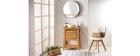 Meuble de salle de bains avec meuble de rangement teck et vasque terazzo ALIOH