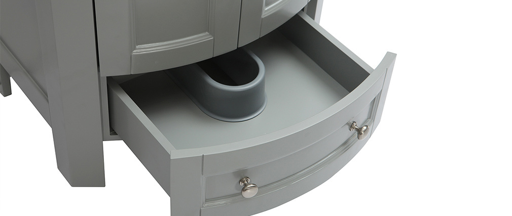 Meuble de salle de bains avec vasque et rangements gris KLASI