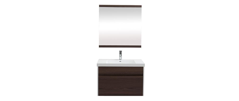 Meuble de salle de bains avec vasque, miroir et rangements blanc et bois foncé GANFO