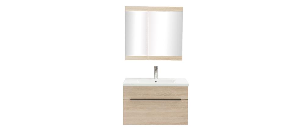 Meuble de salle de bains avec vasque, miroir et rangements bois clair SEASON