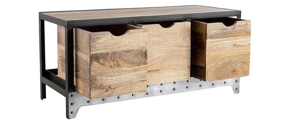 Meuble rangement / chaussures industriel bois massif et métal ATELIER
