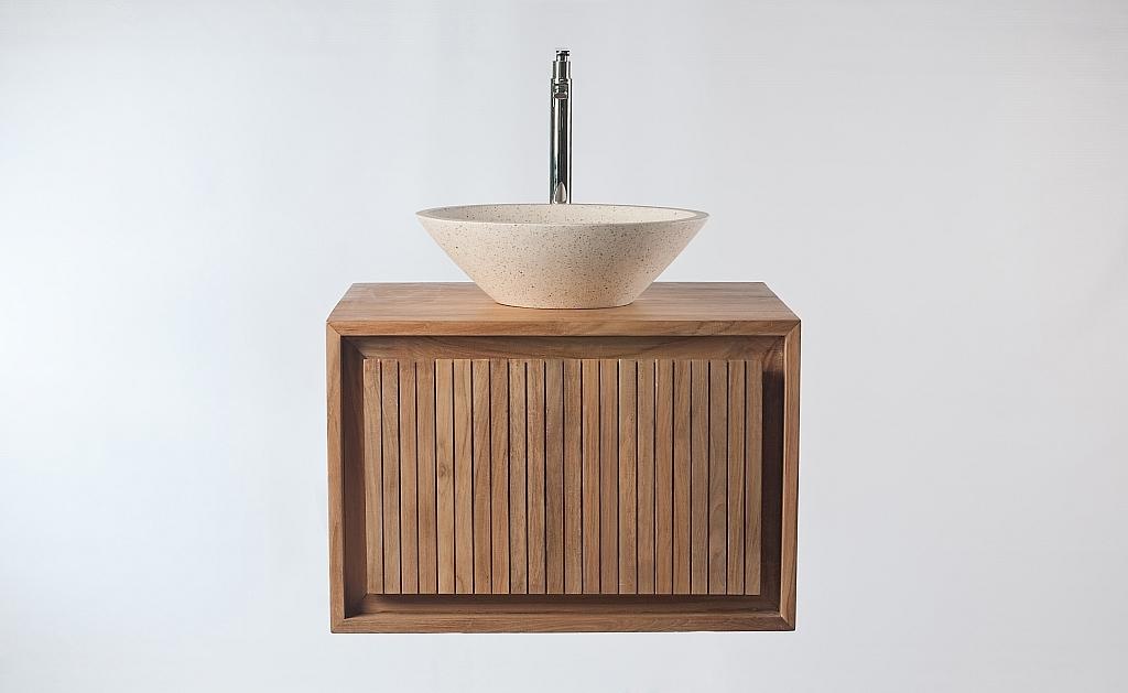 Meuble salle de bain meuble sous vasque teck et vasque terazzo alesi miliboo - Meuble salle de bain teck castorama ...