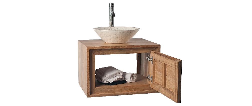 Meuble Salle de Bain: meuble sous vasque teck et Vasque terrazzo PEKKA