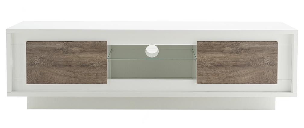 Meuble TV design blanc avec rangements décor bois foncé LAND