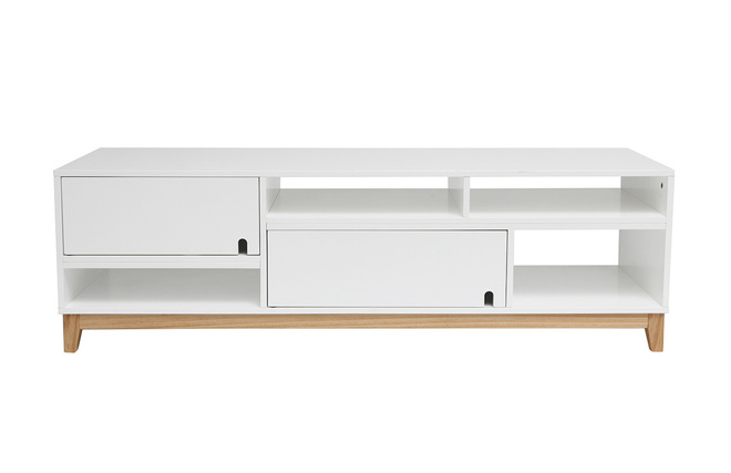 Meuble Tv Blanc Et Bois : Meuble Tv Design Laqué Blanc Mat Et Bois Skal – Miliboo