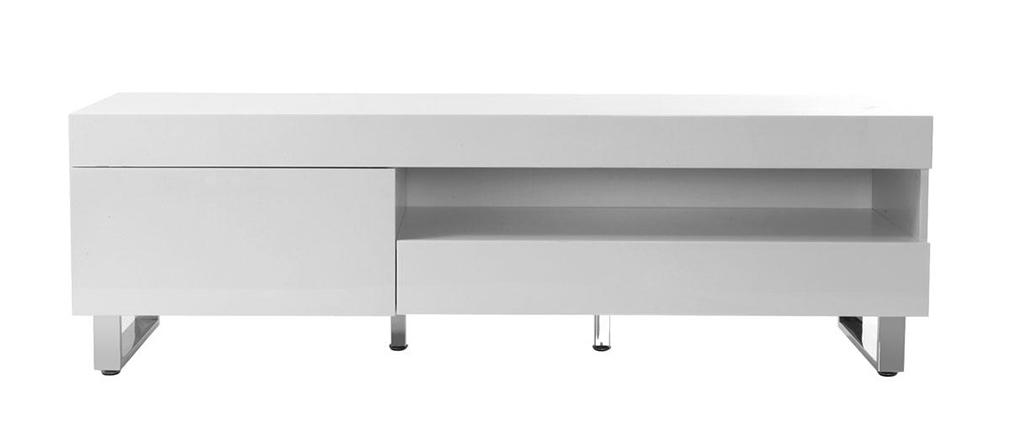 Meuble TV design laqué blanc MELHA