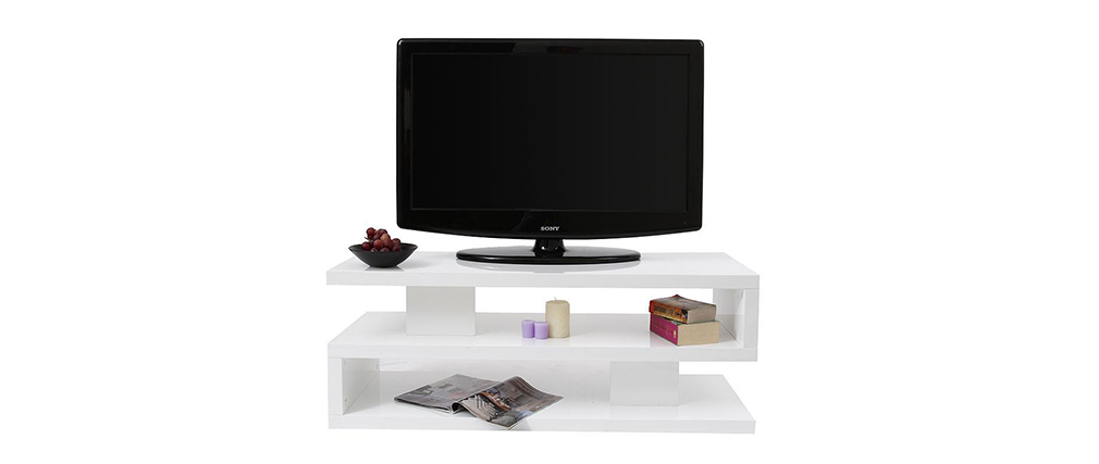 Meuble tv design laqu brillant blanc nexy miliboo - Meuble tv miliboo ...