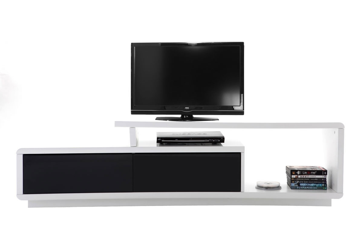Meuble tv blanc arrondi solutions pour la d coration for Meuble tv angle blanc laque