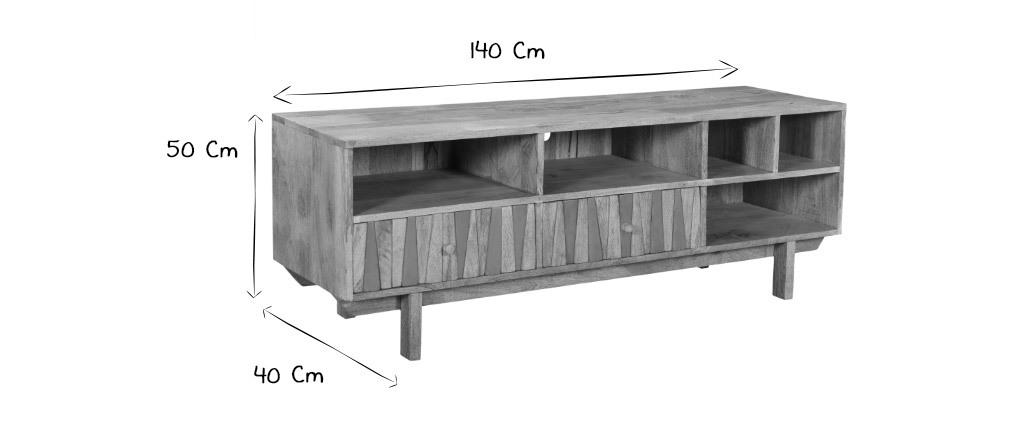 Meuble TV design manguier massif et laiton ZAIKA