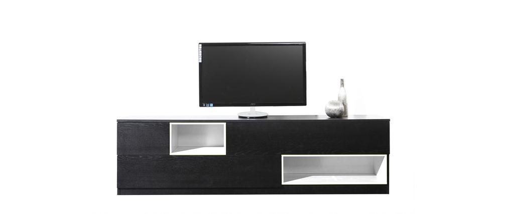 Meuble tv design noir for Meuble tele noir et blanc