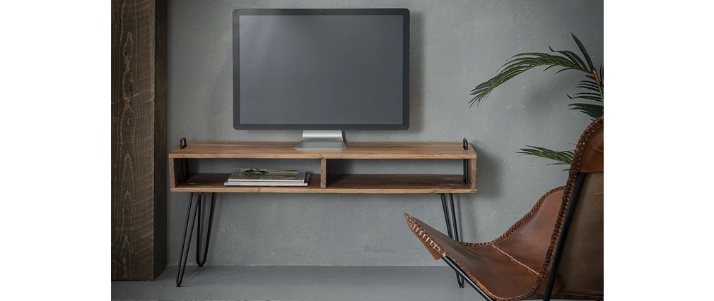 Meuble TV en acacia massif et métal noir ALVIN