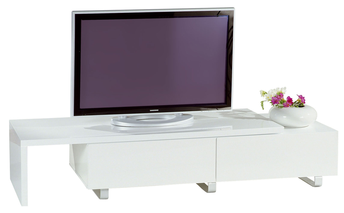 Meuble tv moderne laqu blanc extensible new york miliboo for Meuble tv moderne