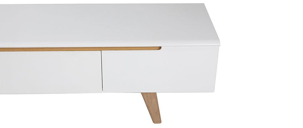 Meuble TV scandinave blanc brillant et frêne 180cm MELKA