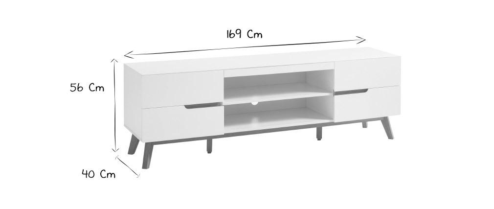 Meuble TV scandinave blanc mat et chêne SKIVE