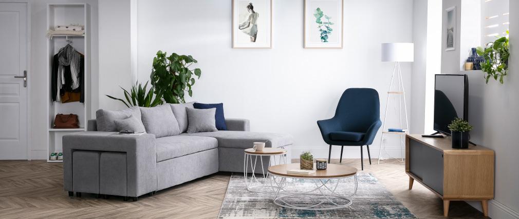 Meuble TV scandinave chêne clair et gris COPENHAGUE