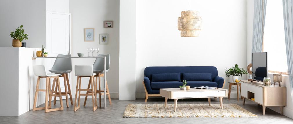 Meuble TV scandinave frêne et blanc GOTLAND