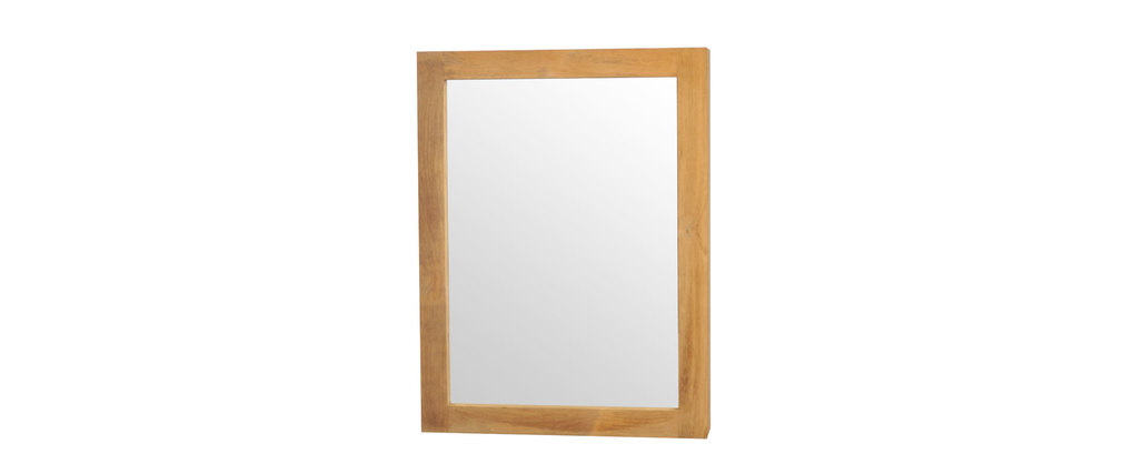 Miroir de salle de bain en teck avec rangement design - Miroir psyche avec rangement ...