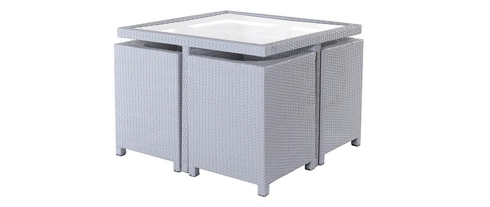 Mobilier de jardin résine tressée table et chaises gris GRECQUES ...