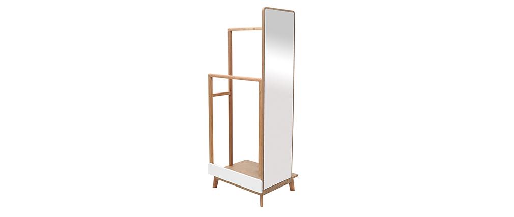 Portant à vêtements avec miroir bois clair et blanc TAYA
