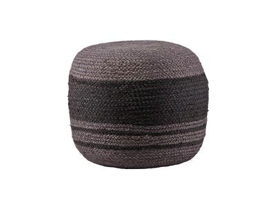 Pouf design rond jute gris et noir RHODOS