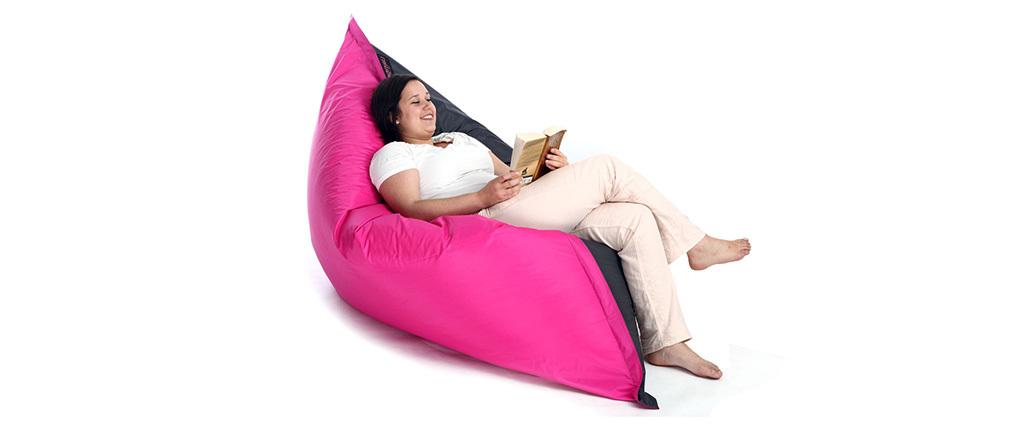 Pouf géant design polyester bicolore gris et rose BIG MILIBAG