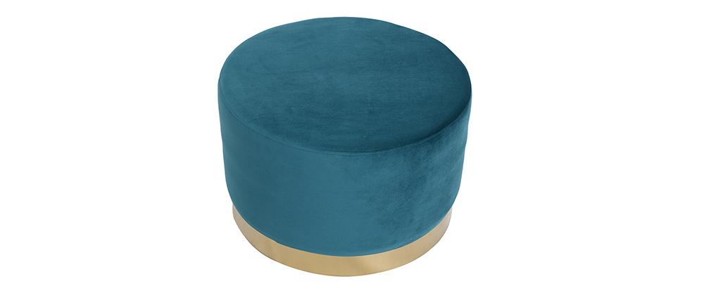 Pouf rond en velours bleu canard et métal doré 54 cm AMAYA