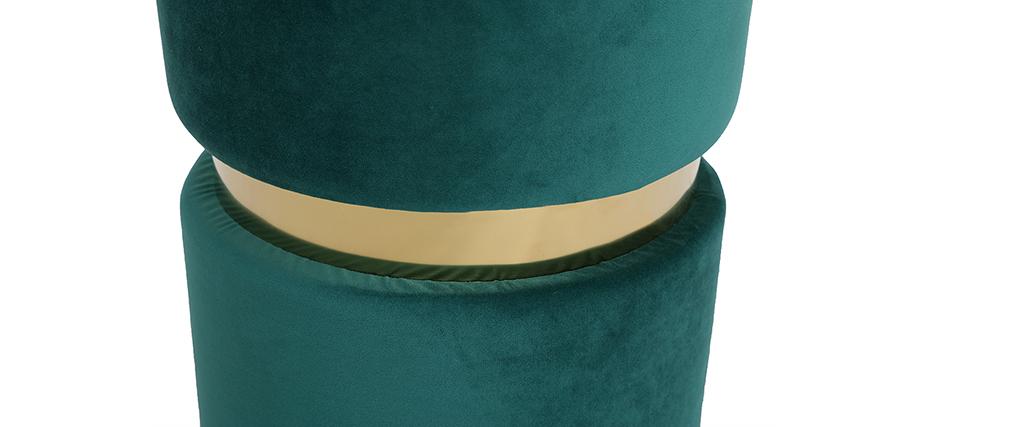 Pouf rond en velours vert et métal doré JOY