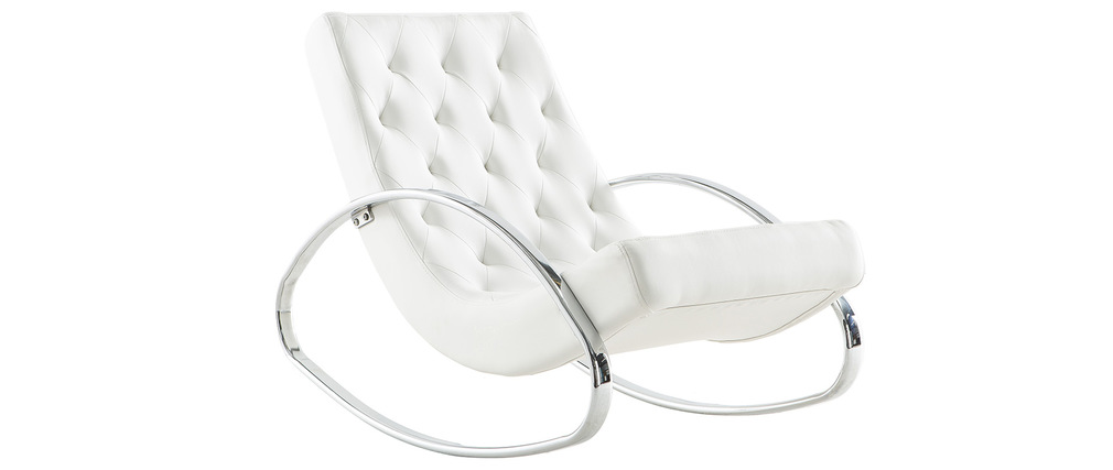 Rocking chair design blanc CHESTY